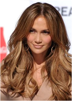 jennifer lopezs center Parted down hairstyle 30 y Brown Hair With Caramel Highlights