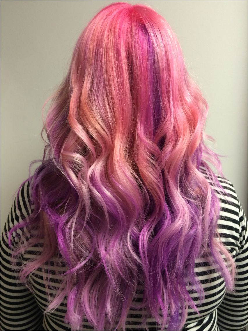 Pink and purple hair Done in Edmonton Alberta By stylist Ella Healy