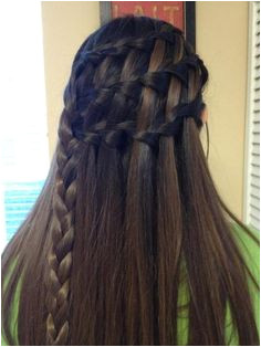 3 waterfall braids into a regular braid