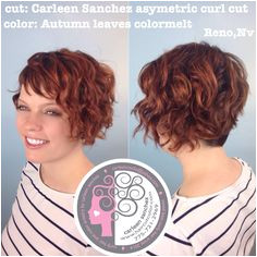 Asymetric Naturally Curly Short cut and colormelt by Carleen Sanchez Reno Nv