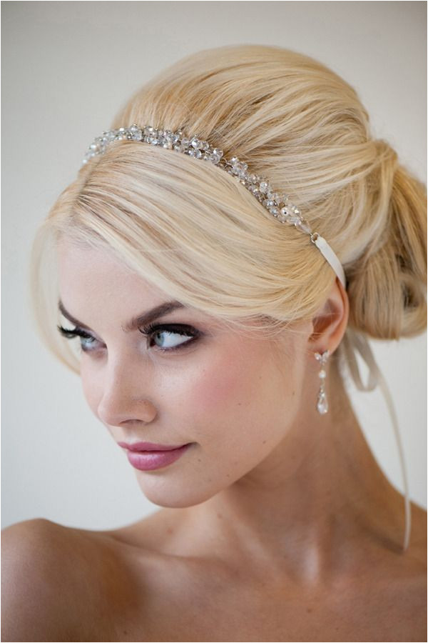 Bouffant fancy formal hair Simple sparkly headband Dark eyed makeup fair skin