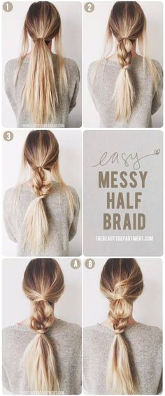 Work Appropriate Hairstyles · Messy Half Braid Tutorial hairstyle Simple Hairstyles For Long Hair Low Pony Hairstyles