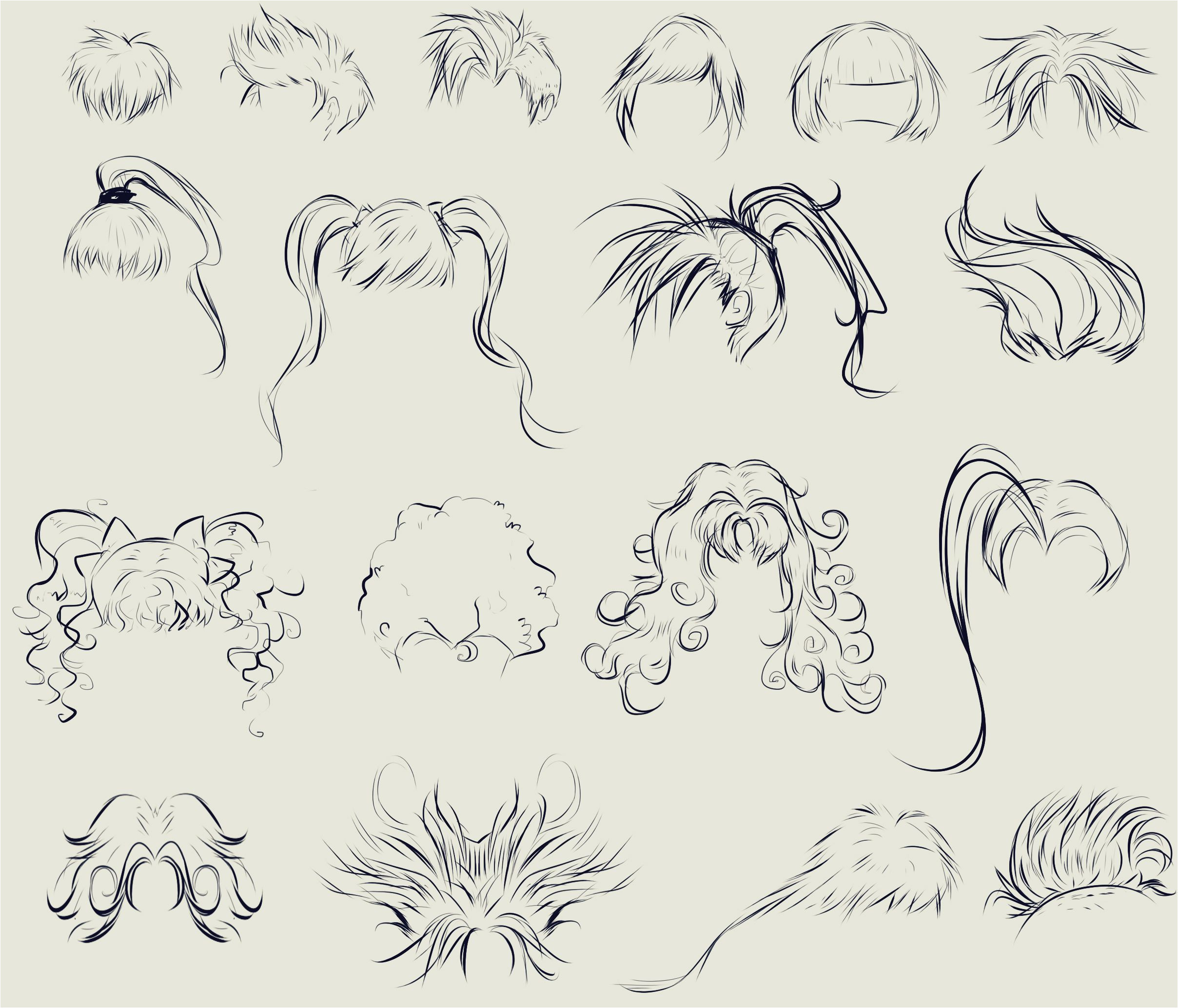 This anime hair reference sheet by ryky is all you need to those flowy locks looking just right drawing • reference • anime • DeviantArt