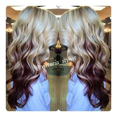 gorgeous blonde and red underneath Dark Hair Blonde Hair With Red Highlights Blonde And