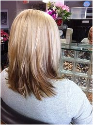 Reversed ombre two toned inspired blonde and brown layered hair Caitlin this