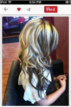 Hair blond dark brown highlights with dark brown underneath Black And Blonde Highlights Blonde Hair