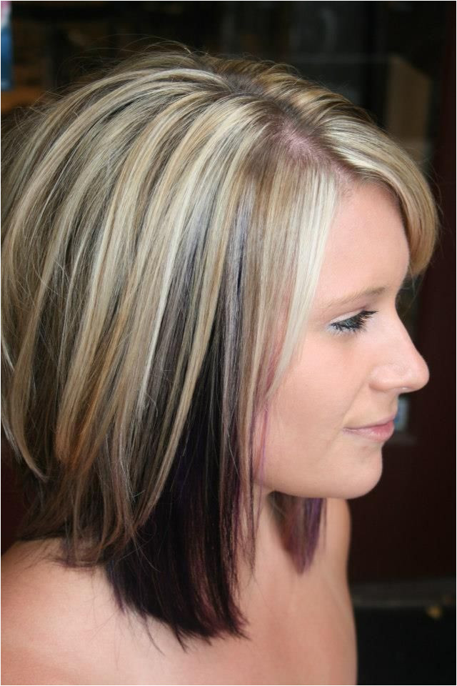Highlights with color blocked black and purple underneath Cute but I am scared of blonde
