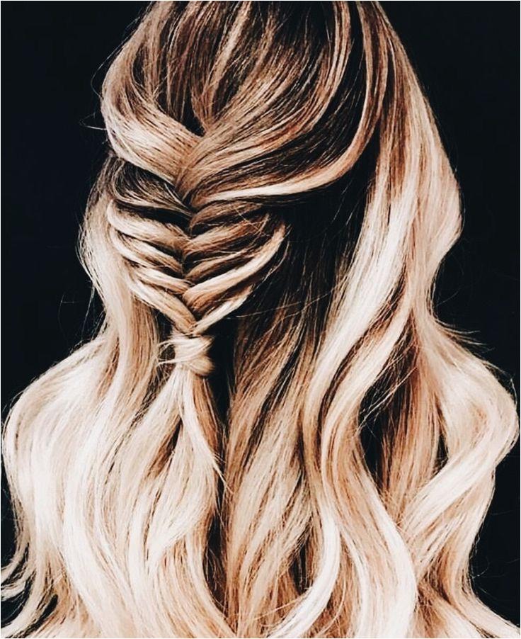 effortless long hair styles Half up braid