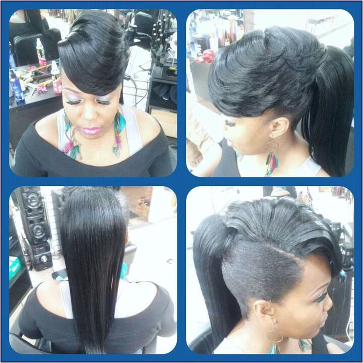 Sew In Hairstyles with Bangs Elegant Pony with Side Swept Bangs Dope I Would Probably Bun