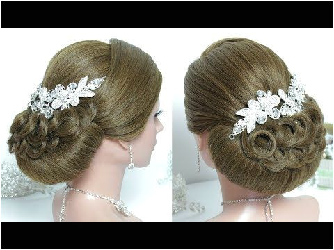 Bridal hairstyle for long hair tutorial Prom wedding updo SideBunHairstyle