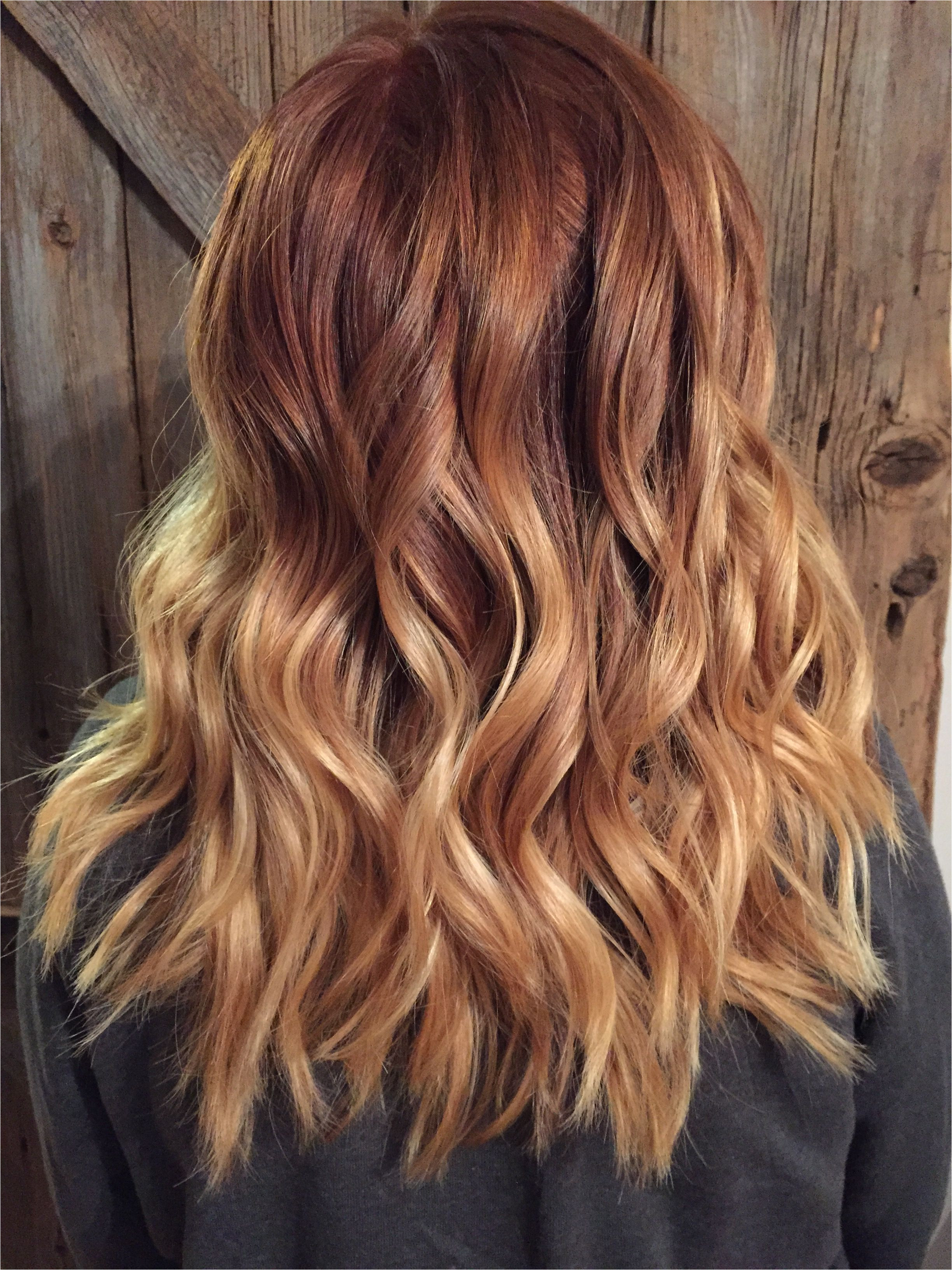 Hairstyles Copper Blonde Copper Red to Blonde Ombré with Balayage Highlights