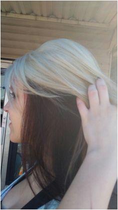 Platinum blonde burgundy red underneath hair color idea DanaK