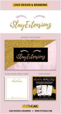 Premade Eyelash Logo Design Template Blank Social Media Template Printable Business Card Design