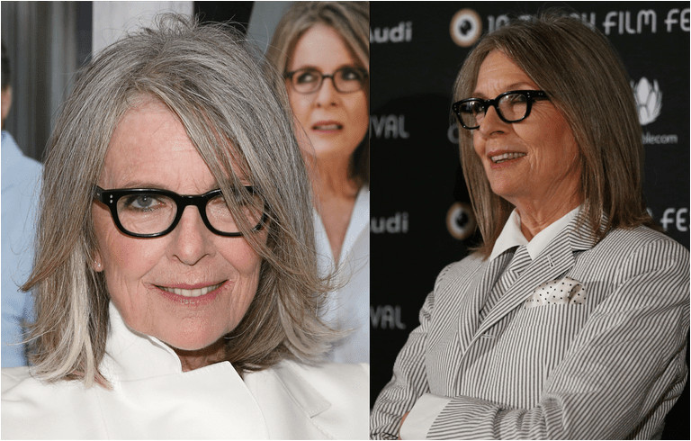 Diane Keaton in two different shoulder length haircuts