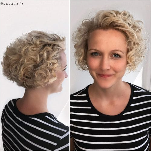 Enhanced Blond Bob for Curly Hair Gorgeously enhanced curls