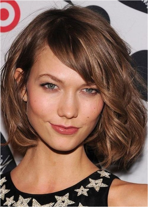"Hairstyles for Curly Hair with Side Bangs Wavy tousled Bob Chin Length Side Bangs""ask for ""a Classic Bob"