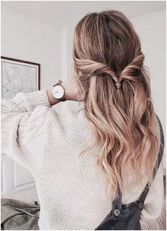 Everyday Long Hairstyle with a twisted half up pony