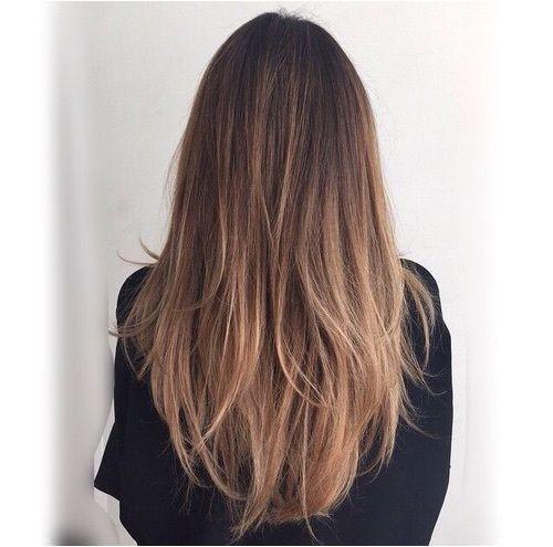 Long Straight Medium Brown Hair with Layers and Honey Brown Balayage