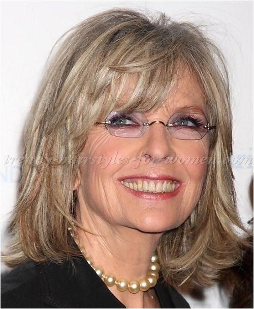 medium hairstyles over 50 Diane Keaton shoulder length bob hairstyle