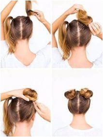 Easy hairstyles for school Darling 5 Minute Twin Buns for Sunny Days EasyBangsHairstyle HairstylesQuick Diyhairstyles
