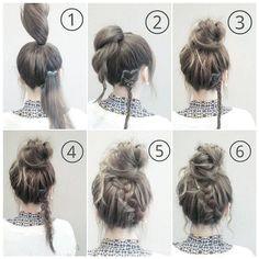 Bun with braid Bun Hairstyles Lazy Day Hairstyles School Hairstyles Easy Hairstyles For