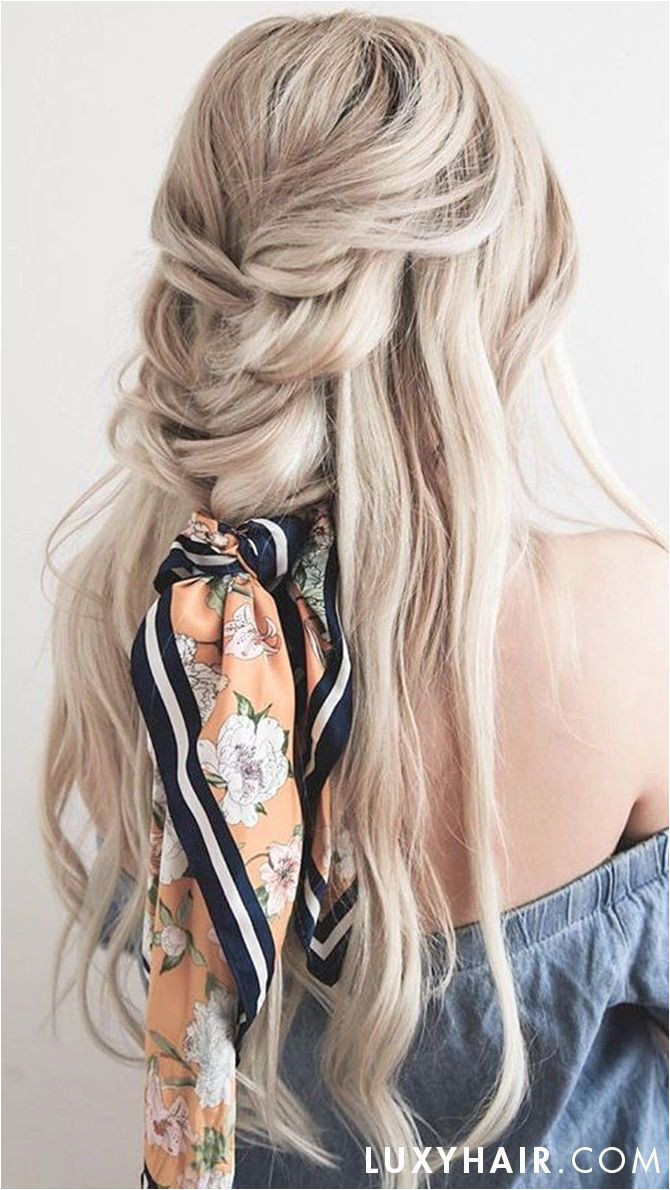 Scarves the the go to Summer Accessory this beautiful braided half up do was created using Luxy Hair Extensions in the shade Blonde Balayage