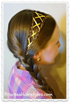 Ribbon Laced Side Braid from Princess Hairstyles Braid Styles Side Braid Hairstyles Braided Hairstyles