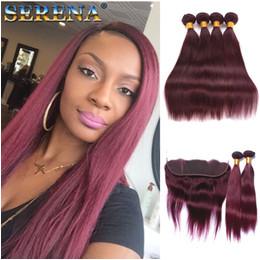 Discount human hair crochet Wine Red Burgundy Bundles Weave Hair Bundles With Closures Crochet Hair