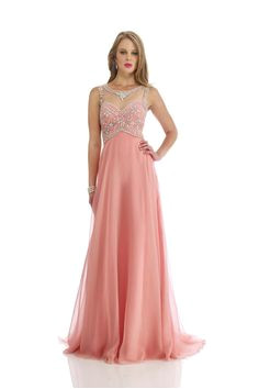 2014 Bateau Prom Dress Beaded Bodice A Line With Chiffon Skirt Court Train USD 163 99 LPPEYYTDPB