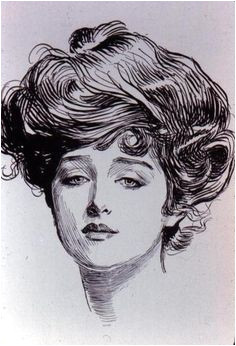 The American Gibson Girl as drawn by illustrator Charles Dana Gibson is the basis