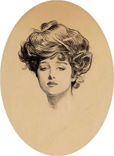 """Charles Dana Gibson 1867 1944 """"The Gibson Girl"""" The Gibson Girl was the personification of the feminine ideal of beauty portrayed by the satirical"""
