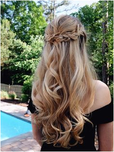 Beautiful Prom Hair soft curls half up half down look with braid Hair ideas and hairstyles that are simple and cute Simple hairstyles for teenagers and