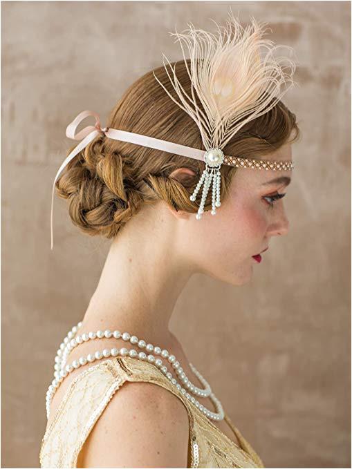1920s Hairstyles History Long Hair to Bobbed Hair SWEETV Flapper Headbands 1920s Womens Peacock Headband