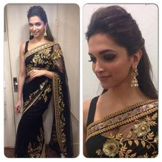 Black saree with gold embroidered design and black blouse great contrast