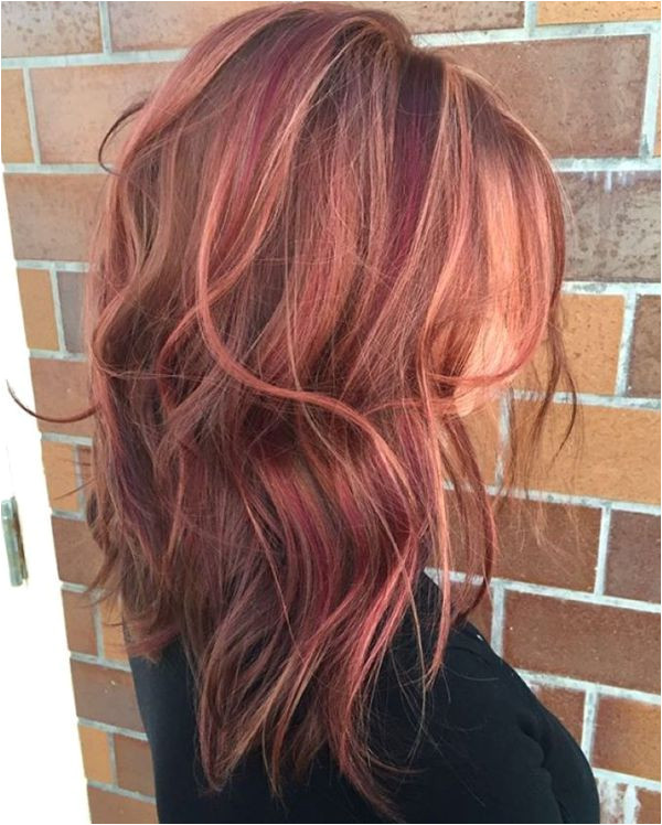 Rose And Burgundy Highlights For Brown Hair