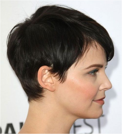 """Ginnifer Goodwin pixie cut """"This short black mane is cropped short and close to the head up and over the ears blending into the top layers that are"""