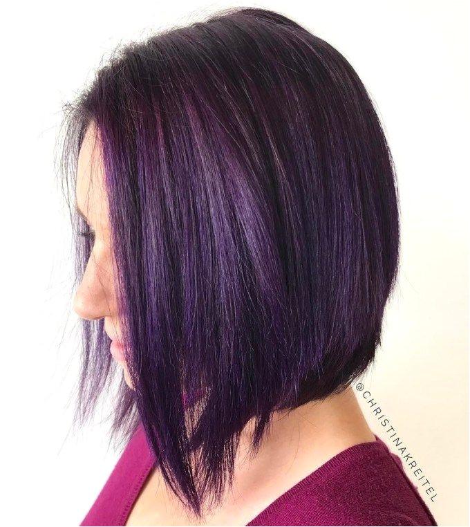 Purple Brown Angled Bob