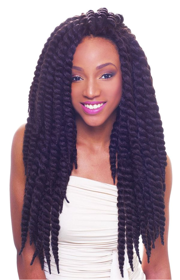 Hairstyles of kinky twists with crochet hair 2