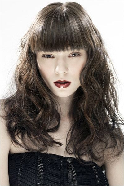 Voluptuous Brown Wavy Hair with Straight Bangs