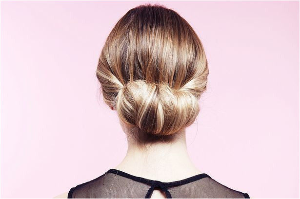 Easy party hairstyles How to do a twisted bun up do step by step Mirror line