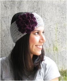 Flower Headband Earwarmer Crochet Purple Flower Fall Winter Fashion Hair Accessory $18 00 via Etsy