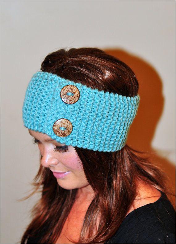 Mint Headband Buttons Head wrap Earwarmer Crochet by lucymir $29 99