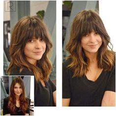 Lob Haircut With Arched Bangs