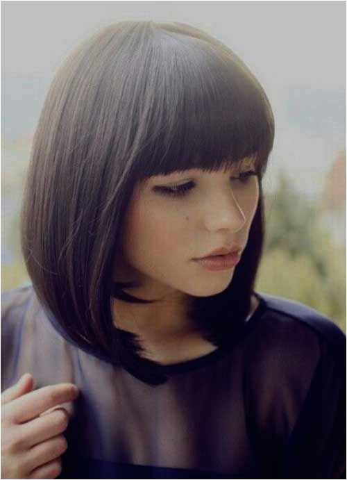 Hairstyles with Diagonal Bangs Medium Bob with Bangs Beauty