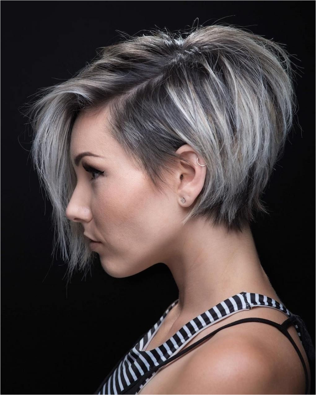 Stacked Pixie with Long Bangs Hair Short Bobs Summer Hair Cuts Short Color