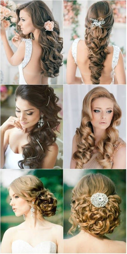 I think these are all gorgeous wedding hair styles especially if you have long hair LOVE THE MIDDLE LEFT