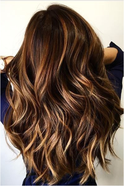 balayage layered wavy hairstyle long haircuts 2017 blonde and cinnamon balayage for chocolate brown hair