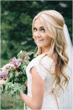 Dancing with Stars Pro Lindsay Arnold s Utah Wedding Bridal Hair Half Up With VeilHalf
