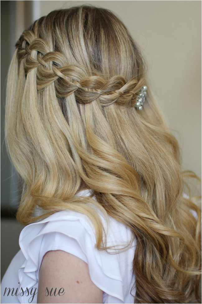 1709 Half Up Bridesmaid Hairstyles Four Strand Waterfall Braid