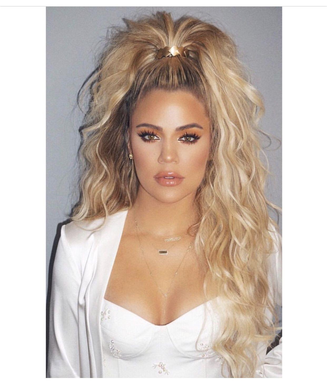Half Up Hairstyles Khloe Kardashian Khloe Kardashian Curly Half Up Ponytail